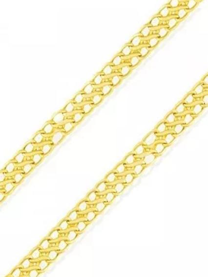 Corrente Colar Lacraia Feminina 40cm 3mm Largura Ouro 18k
