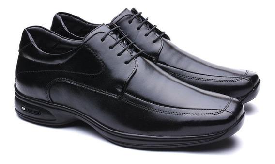 Sapato Jota Pe Em Couro Legítimo 3d Air Com Cadarço Preto