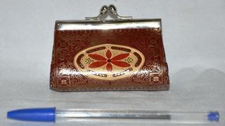 Porta Moedas Bolsinha Rara Italiana Antiga Acabament Dourado