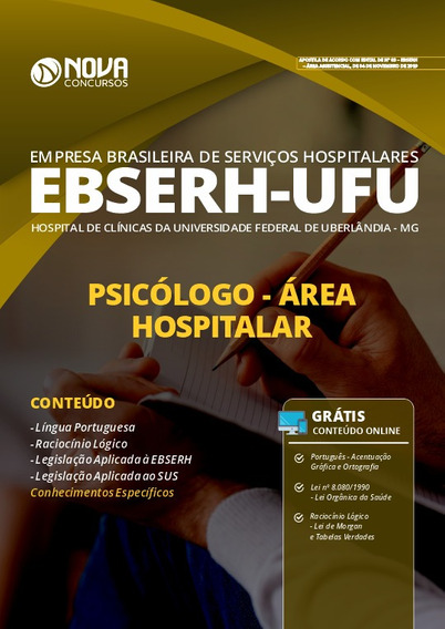 Apostila Concurso Ebserh Ufu 2020 Psicólogo Área Hospitalar
