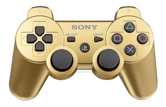 Controle Dualshock 3 Dourado - Ps3 - Original Sony Sem Fio