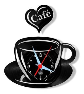 Café Xícara Bule Cozinha Relógio Parede Vinil Arte Disco Lp
