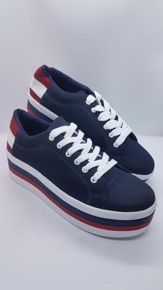 Zapatos Kan Kan Colombianos Para Dama Suela Alta Azul Marino