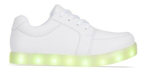 Tenis Blancos Luminosos 7 Colores De Led Niños Niñas Unisex