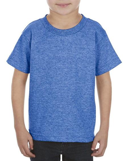 Paquete De 10 Playeras Para Niño Talla 4 A 7 Color Azul Rey