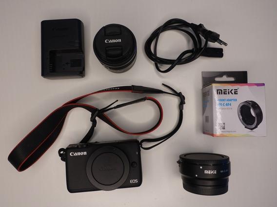 Canon M10 Preta Com Adaptador Meike Ef/ef-s