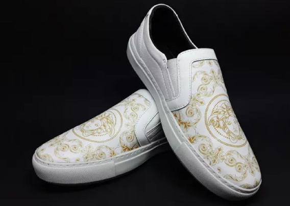 Slip-on Shoes Versace Branco Medusa +brinde