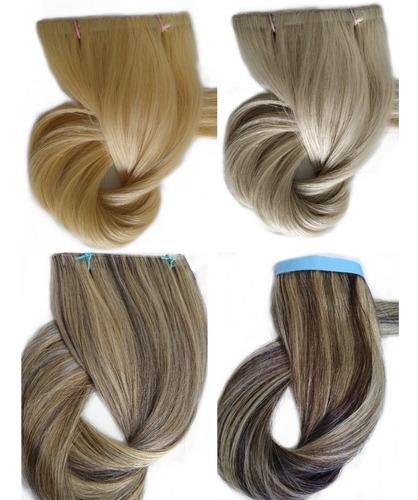 Imagem 1 de 10 de Cabelo Humano Loiro Claro Fita Adesiva 120g 70cm Mega Hair
