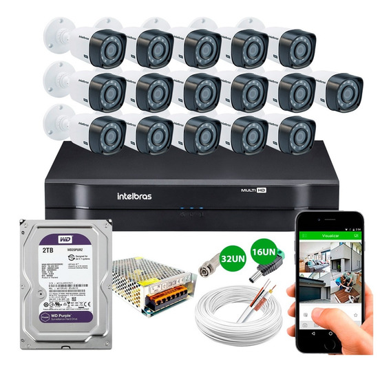 Kit Cftv 16 Cameras Segurança Hd 720p Dvr Intelbras 2tb