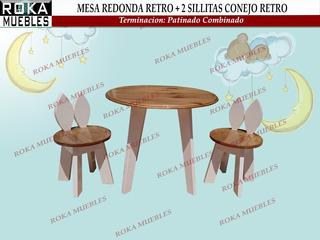 Mesa Redonda +2 Sillita Conejo Retro Patinado Combinado