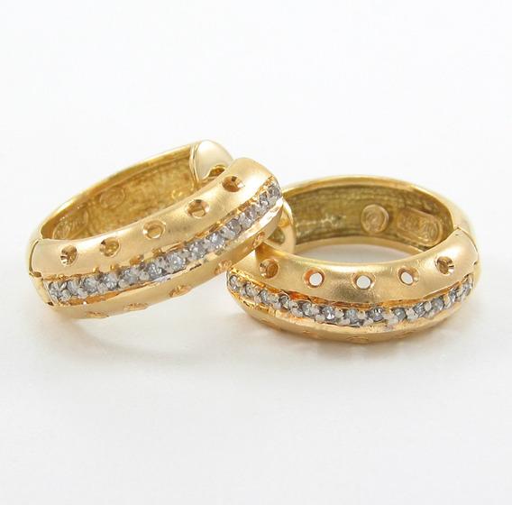 Esfinge Jóias - Brinco Argola Com Diamantes Em Ouro 18k 750.