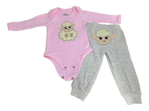 Conjunto Bebê Body Menina + Calça Ovelinha