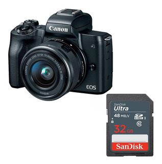 Cámara Canon Eos M50 24 Mpx Kit 15-45mm Vídeo 4k + 32gb.