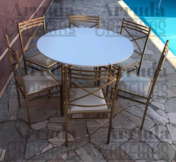 10 Jogos De Mesa C/ 6 Cadeiras 20x20 Ourovelho Diâmetro 1.10