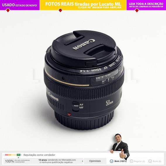 Lente Prime Canon Ef 50mm F 1.4 Usm Estado De Nova - Fixa 1a