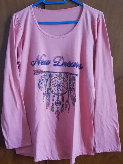 Camiseta Mangas Largas Rosa Con Estampa Talle M/l