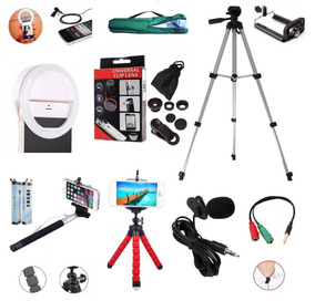 Kit Youtuber Tripé 1,30m Luz Selfie Microfone Lapela Celular