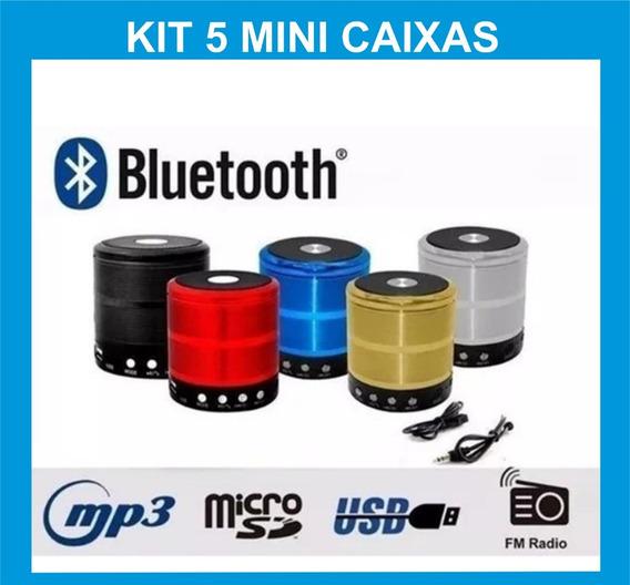 Kit 5 Caixinha De Som Bluetooth Atacado Usb Pendrive Caixa