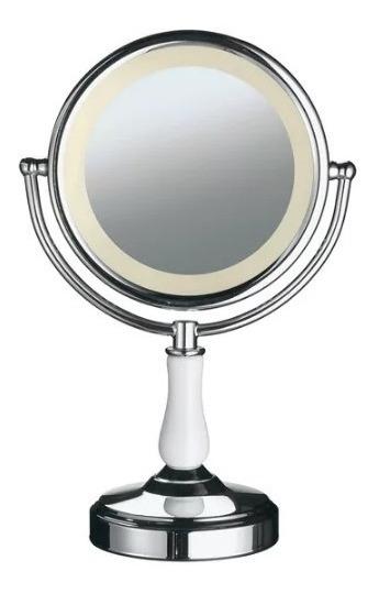 Espelho Mesa Dupla Face Iluminação Led Aumento 2x Giratorio