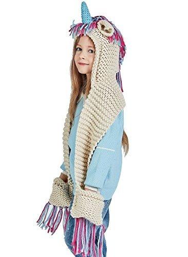 Bufanda Con Capucha Bolsillos Unicornio Crochet Invierno Niñ