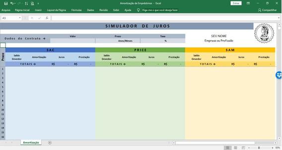 Simulador Automático De Juros E Empréstimos - Excel
