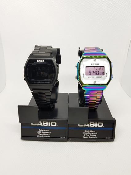 Reloj Casio Negro Mate + Tornasol A-168 Duo Retro Vintage