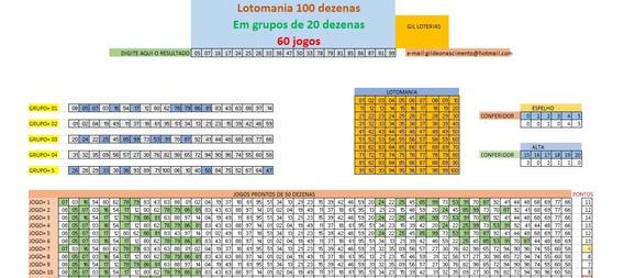 Lotomania 100 Dezenas Em Grupos De 20 Dezenas