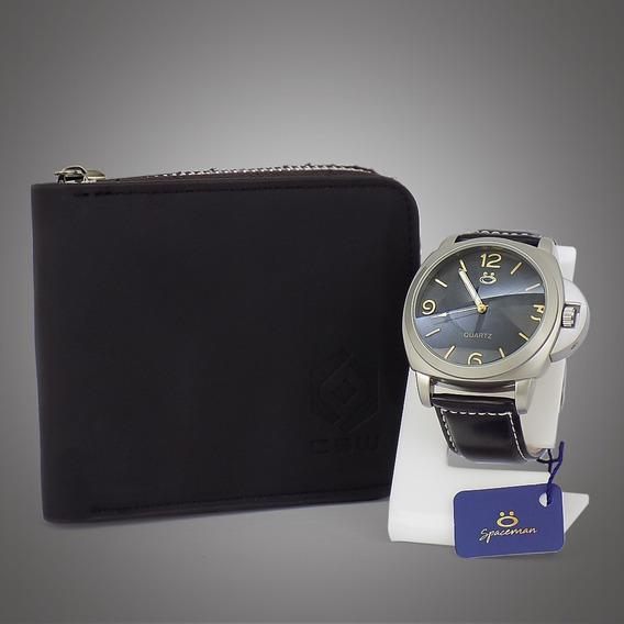 Relógio Masculino Original Dourado Preto Grátis Carteira