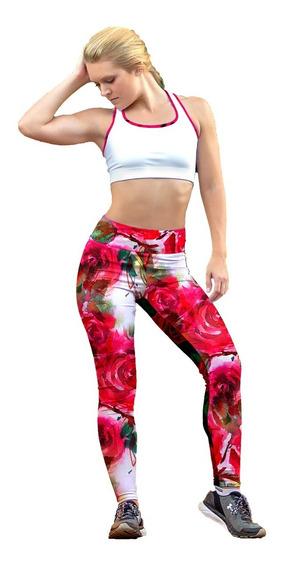 Leggin Dama Sublimado Licra Rosas Color Rosa Gym Bi-estrech