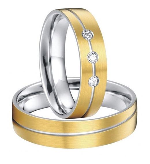 Par De Aliança Tungstênio Banhadas A Ouro 18k Casamento 6mm