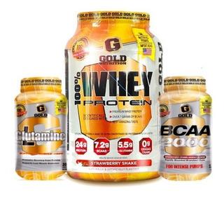 Glutamina + Whey Protein + Bcaa 2000 Gold Recuperación