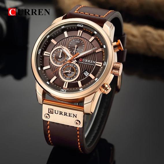 Relógio Curren 8291 ,100% Funcional Pulseira De Couro.
