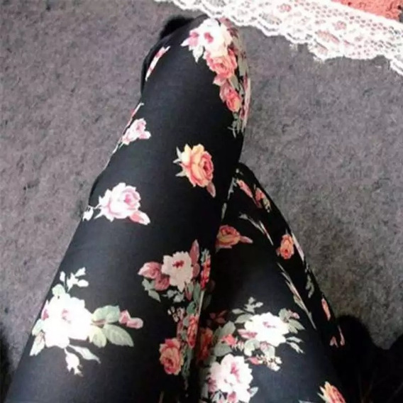 Leggings Negros Con Rosas