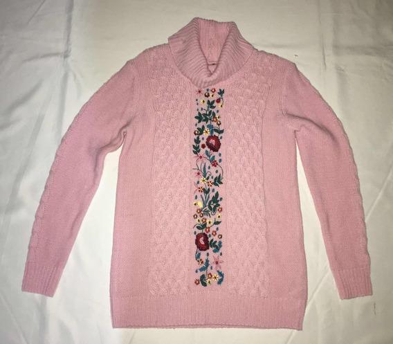 Sweater Studio F Rosa Bordado De Flores Talla 8 Envió Gratis