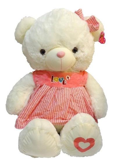 Ursinho De Pelúcia Infantil Branco Coração Brinquedo Ch1504