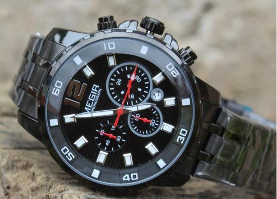 Relógio Masculino Megir 2068 Preto Original
