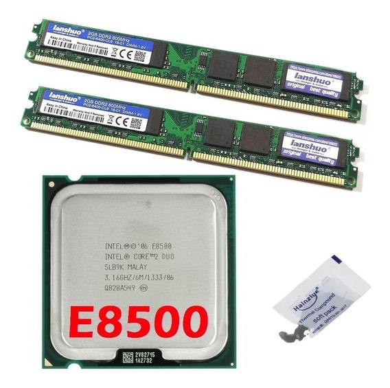 Kit Memória Ddr2 800mhz 4gb + Cpu Core 2 Duo E8500 3,16 Ghz