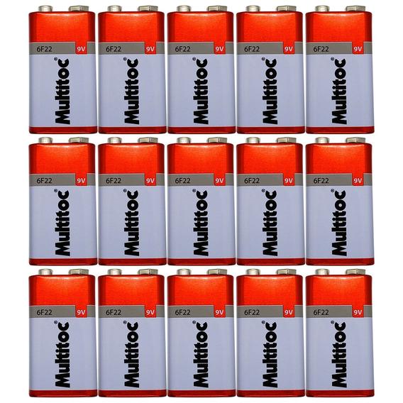 Kit C/ 15 Pilhas Baterias 9v Multitoc 6f22
