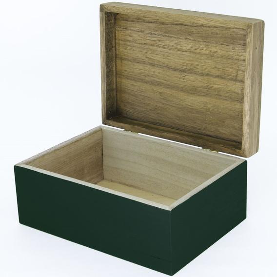 Porta Jóias Mini Baú Caixa Decorativa Madeira Verde Escuro