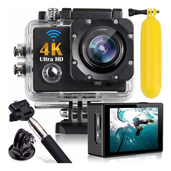 Action Go Cam Pro Sports Ultra 4k Full Hd 1080p Bastão Boia