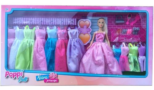Imagen 1 de 7 de Muñeca Kiara Princesa Vestidos Accesorios Zapatos Poppi Doll