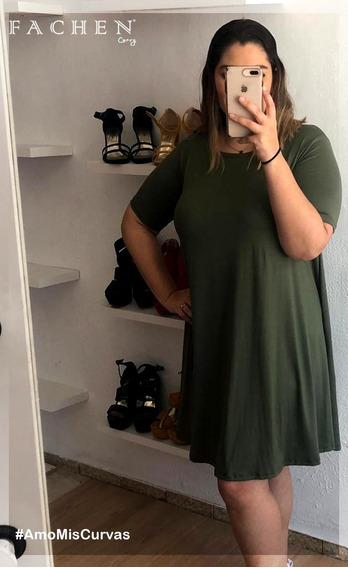 Vestido Linea A Verde Militar Extra