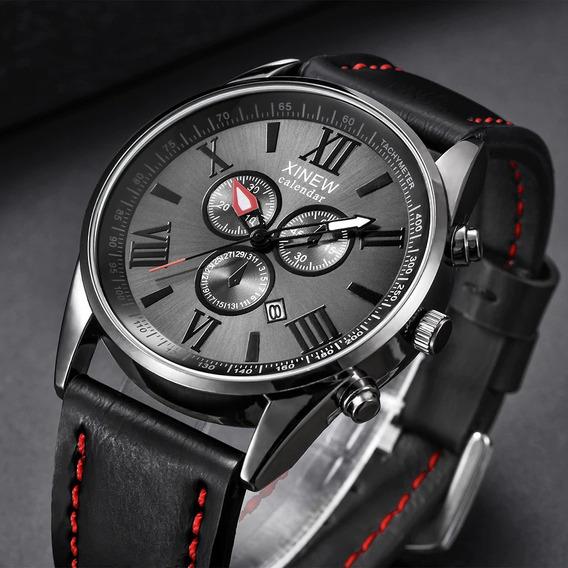 Relógio Luxo Top Campeão De Design , 5 Estrelas , Calendário, Mecanismo Japonês, Estilo , Social E Casual Box De Brinde