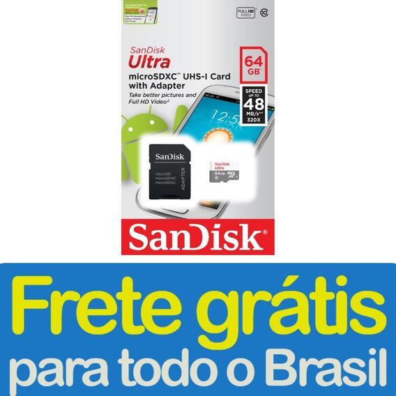 Cartão De Memória Sandisk Micro Sd 64gb Classe 10 Nfe Frete