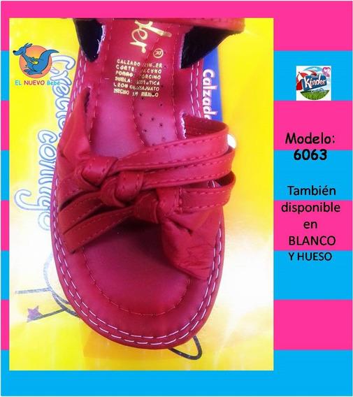 Huaraches Marca Kinder Para Niña 6063 Rojo Del 21.5 Al 23