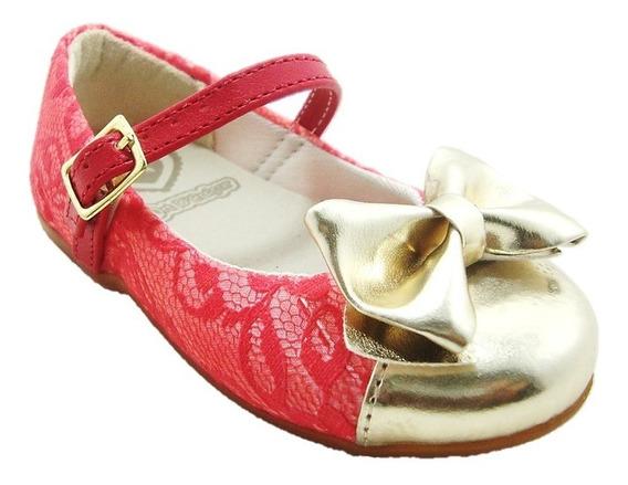 Sapato Infantil Vermelha Com Laço Dourado 080001 Art Dcalçar