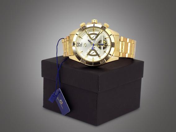 Relógio Masculino Dourado Preto Original Barato Promoção