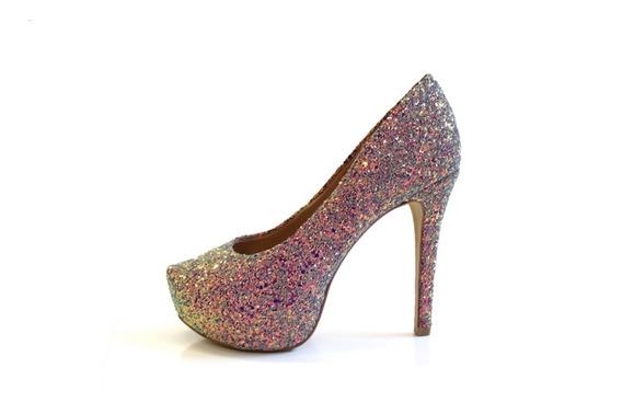 Sapato Noiva Scarpin Meia Pata Todo Em Glitter 65