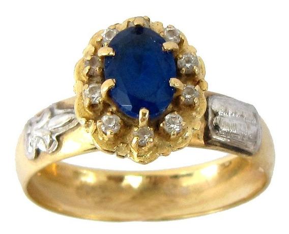 4503 Anel Formatura De Ouro 18k 750 Pedagogia Safira Azul