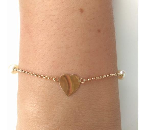 Pulseira De Ouro 18k Coração Com Pérola